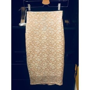 Gold lace pencil skirt